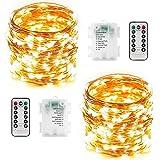 Guirnalda Luces Exterior Pilas - 2 Piezas Total 24M 240 LED Luces LED Decoracion Guirnalda Luces Pilas 8 Modos Impermeable con Función de Temporizador Luces de Navidad para Bodas Jardin