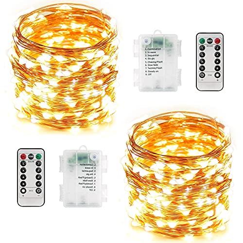 Guirnalda Luces Exterior Pilas - 2 Piezas Total 24M 240 LED Luces...
