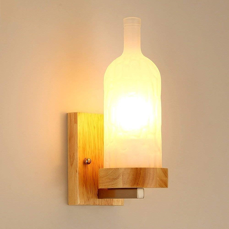 ATR Japanische Wandleuchte aus massivem Holz, E27 Retro Led Licht, für Schlafzimmer Wohnzimmer Esszimmer Dekoration