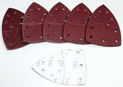 120 Multischleifer Schleifscheiben Prio 105x152 mm im Set K40/60/80/120/180/240 je Körnung 20 Blatt Klett Schleifpapier 11-Loch 2-teilig Delta Schmirgelpapier für Holz u. Metall nass u. trocken
