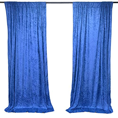 AK TRADING CO. 10 feet x 10 feet Lush Velvet Backdrop Drapes Curtains Panels with Rod Pockets - Wedding Ceremony Party Home Window Decorations - Royal Blue