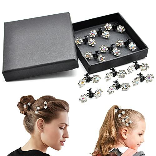 SwirlColor - Eleganti piccole mollette con fiore di strass per matrimoni, confezione da 12 pezzi-Piccolo
