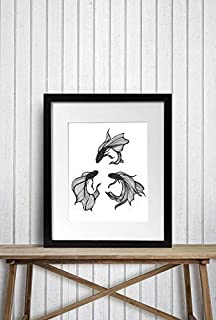 Betta Triquetra - Fish Inspired Ink Drawing - Art Print
