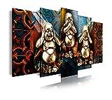 Dekoarte 253 - Cuadro moderno en lienzo de 5 piezas, estilo zen-feng shui 3 budas, 150x80cm