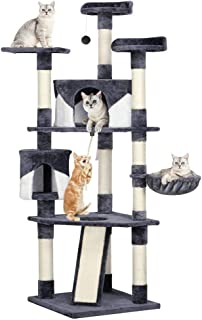 Yaheetech 79in Multi-Level Cat Trees with Sisal-Covered Scratching Posts, Plush Perches and Condo for Kittens, Cats and Pets - Gray and White