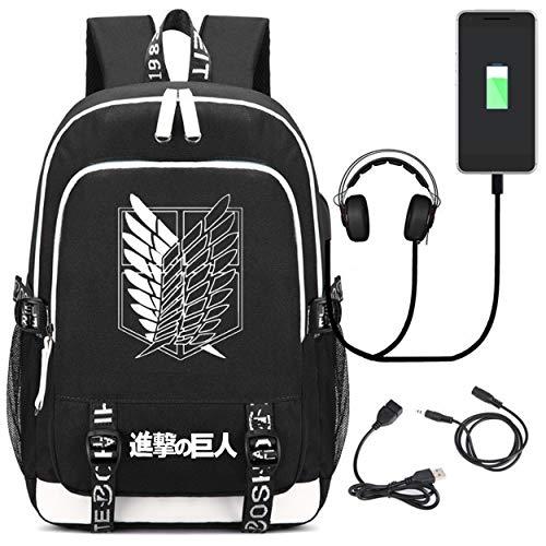 YOYOSHome Anime Attack on Titan Cosplay Rucksack Bookbag Daypack Laptop Schultasche mit USB-Ladeanschluss, 6 (Schwarz) - yyyo6