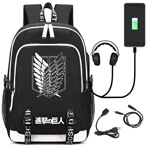YOYOSHome Anime Attack on Titan Cosplay Rucksack Bookbag Daypack Laptop Schultasche mit USB-Ladeanschluss, 6 (Schwarz) - yyyo6