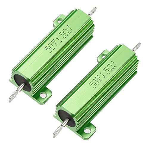 uxcell メタルクラッド抵抗 アルミニウムハウジング抵抗 リングドアベル抵抗器 50W 1.5 Ohm グリーン 2個入り