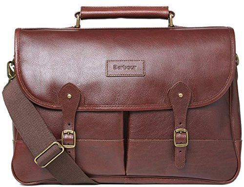 Barbour Dark Brown Leather Briefcase - ONE SIZE