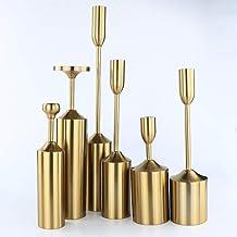 Vincidern Iron Candle Holder Centerpieces Set of 6, Brass Gold Vintage Decoration Candlestick Holder Centerpiece for Dinin...
