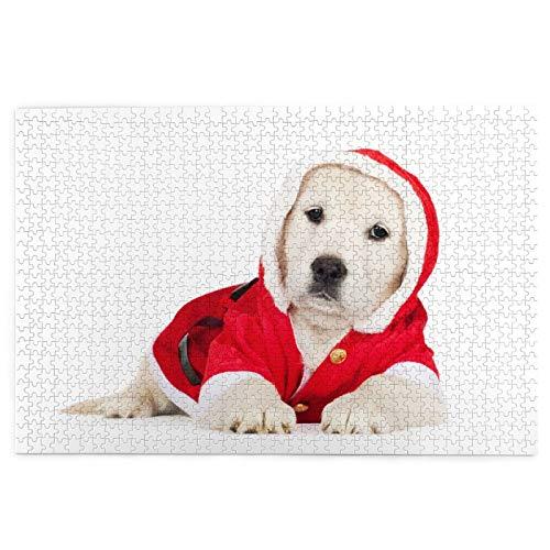 MZTYPLK Rompecabezas de 1000 Piezas,Rompecabezas de imgenes,Adorable Golden Retriever Puppy Santa Disfraz,Juguetes Puzzle for Adultos nios Interesante Juego Juguete Decoracin para El Hogar