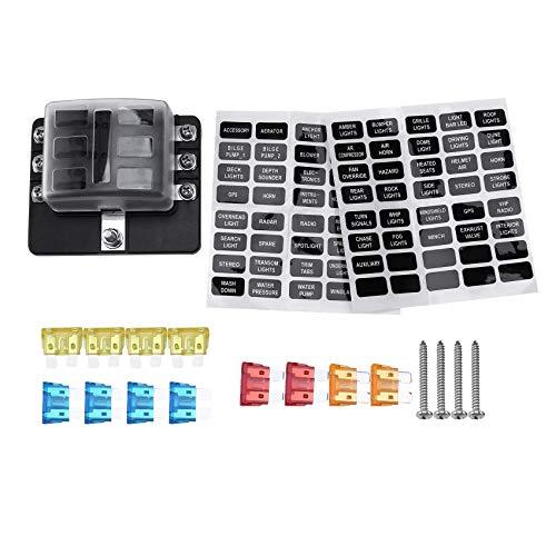 Fltaheroo Caja de fusibles de 6 vías, con luz LED, a prueba de humedad, bloqueo de coche, barco, automoción, RV, 32 V, impermeable, con cubierta, fusible y pegatinas