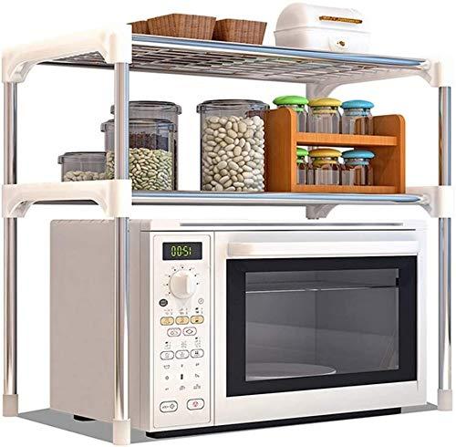 Multifunción Tipo de horno de microondas de tipo H Doble estante de cocina Metal Acero inoxidable Montaje Multifunción Cocina Almacenamiento de rack Plata LINGZHIGAN
