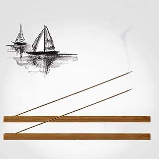 MOUHIV 2pcs Supports de bâton d'encens en Bois de Bambou Poli et ciré brûleur d'encens collecteur de Cendres 23 cm de Long