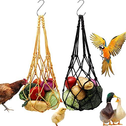 2pcs Comedero Colgante Bolsa Comedero Gallinas Colgante Comedero Colgante Aves Comederos para Gallinas Juguete para Forrajear Gallinas para Gallos Pollos Pájaros Patos Ganso Amarillo Negro