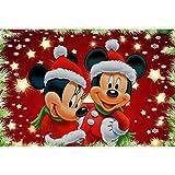 Kit de herramientas de pintura de bordado de diamantes de imitación 5D, con diamantes redondos fabricación/para decoración de pared-Navidad Mickey y Minnie 16X12inch