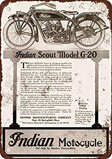 Jesiceny New Tin Sign 1920 Indian Scout Model G-20 Motorcycles Vintage Look Reproduction Aluminum Metal Sign 8x12 INCH