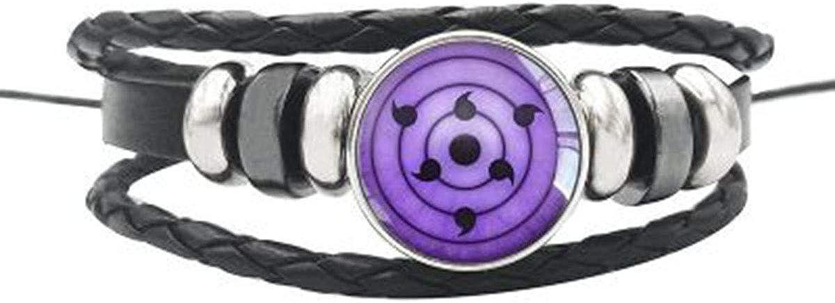 LACKINGONE - Collar con colgante Sharingan Rinnegan, color negro y metal Clan Uchiha 50 cm Naruto