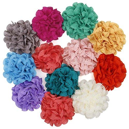 Bundle Monster 12 pc Baby Girls Peony Flower Elastic Headband Hair Accessories