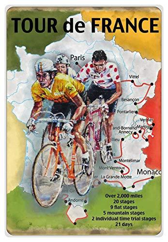 Metalen bord 20x30cm gebogen Tour de France reclame affiche decoratie geschenk bord