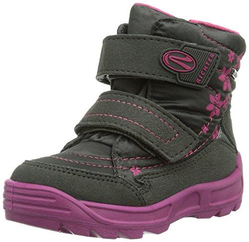 Richter Kinderschuhe Freestyle, Chaussures Premiers Pas pour bébé (Fille) - Gris - Grau (Steel/Fuchsia 6501), 21 EU (4.5 Baby UK) EU