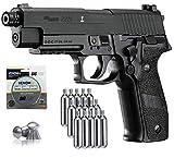 SIG Sauer P226 Air Pistol with CO2 12 Gram (15 Pack) and 500 Lead Pellets Bundle (Black)