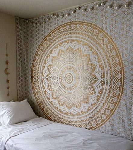 WERT Tapiz de Mandala Tapiz Bohemio decoración para Colgar en la Pared Alfombra de Playa Alfombra de Fondo Familiar Tapiz de Tela A14 100x150cm