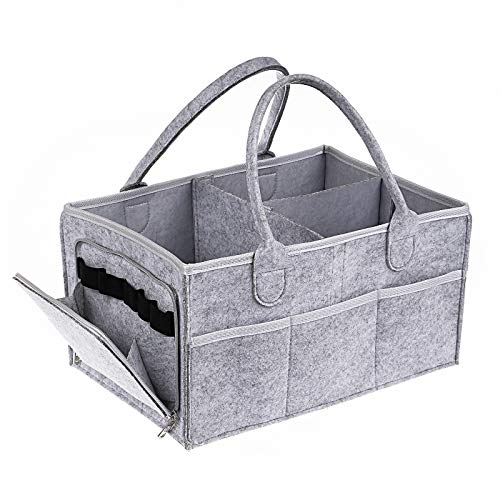 Baby Diaper Caddy Organizer - Gift Caddy Nursery Bin with Waterproof Liner and Portable Storage Bag for Travel, Easy to Clean,Large,Grey