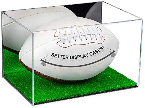 Better Display Cases Acrylic Football Display Case with Mirror and Turf Base (A018-MTB)