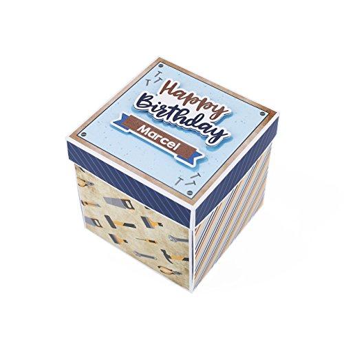 Herz & Heim® Explosionsbox zum Geburtstag eines Heimwerkers oder Handwerkers mit Namen des Jubilars