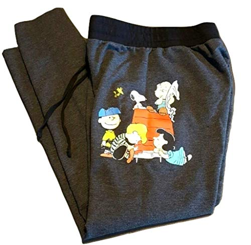 Peanuts Snoopy Charlie Brown Woodstock Women's Juniors Jogger Pant Legging Yoga Pants Grey (Small, Peanuts Doghouse)