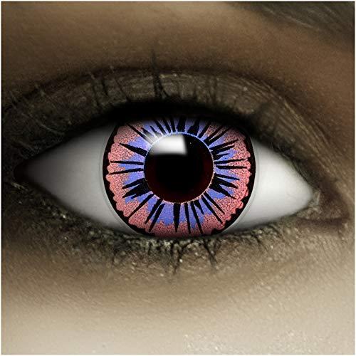 Farbige Kontaktlinsen ohne Stärke Fee + Kunstblut Kapseln + Kontaktlinsenbehälter, weich ohne Sehstaerke in lila, 1 Paar Linsen (2 Stück)