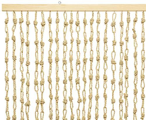 zeitzone Türvorhang Papiervorhang Makramee Naturfaser Beige 90x200 cm Insektenschutz
