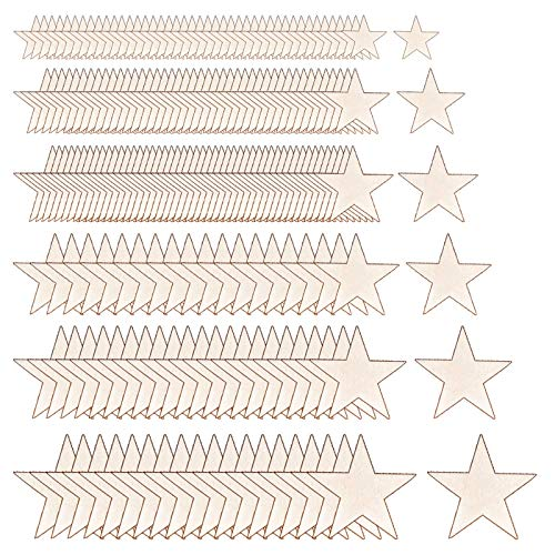 GLOBALDREAM Holzsterne 210 Stücke Stern Holzscheiben Deko Holz Stern Deko Basteln Holzscheiben Holz Stern für Vintage Konfetti DIY Handwerk Hochzeit Party Weihnachten Dekoration Gemischt