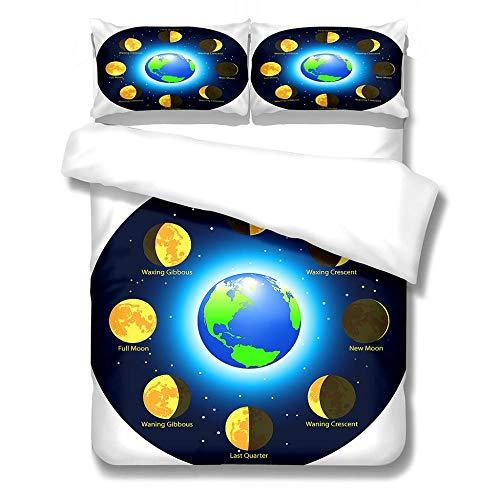 Funda Nórdica 3D Luna De La Tierra Digital Impresión Funda Nórdica Y Funda De Almohada Juegos De Cama Chico 200Cmx200Cm