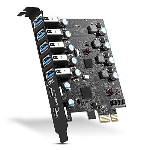 ULANSEN PCI-E-auf-7-Port-(Typ C (2), Typ A (5)) USB 3.0 HUB, Interne Erweiterungskarte, Contronller-Adapter, PCI-Express-Karte, Desktop-PC für Windows, Mac, Linux