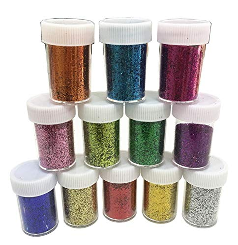 Slime Supplies Glitter Powder Sequins for Slime,Arts Crafts Extra Solvent Resistant Glitter Powder Shakers,Bulk Acrylic Polyester Craft Supplies Glitter Loose Eyeshadow,Assorted Colors,12 Pack Glitter