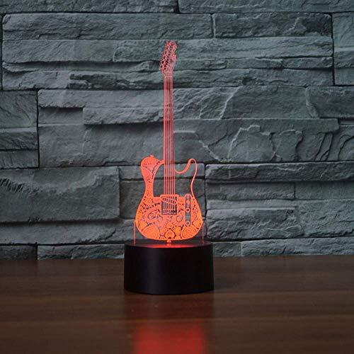 De tafellamp heeft 7 kleuren, om te slapen, Musica, 3D, gitaar, laag nachtlampje, muziek, decoratie, voor thuis, studenten, verjaardag, kerstcadeaus.