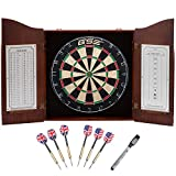 Solid Wood Dartboard Cabinet Set with Bristle Dart Board and 6 Steel Tip Darts (Deluxe Walnut)