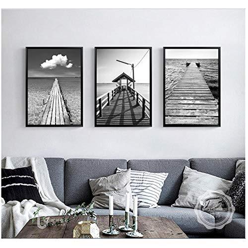 N/A picines for Vivente Camera Seaside Wooden Bridge, Mooie Sea Landscape, decoratief schilderij 40 x 60 cm x 3 Ongeframed