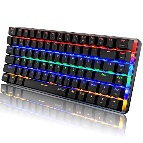 Rechargeable Bluetooth 5.0 Wireless Mechanical Gaming Keyboard, Rainbow Backlit Blue Switch USB Wired Game Keyboards, Black 82 key for Game Office Compatible With PC Mac