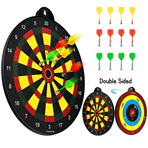 "Glonova Reversible Magnetic Dart Board Double Sided Dart Board Game Includes 16"" Dartboard & 12 Darts for Kids Age 4+"