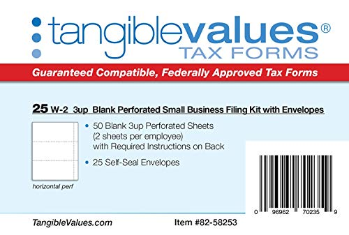 W-2 Blank 3-up Tax Forms 2019 - Tangibles Values Perforated Small Business Filing Kit with Envelopes - Accounting Software Compatible, 25 Pack Photo #5