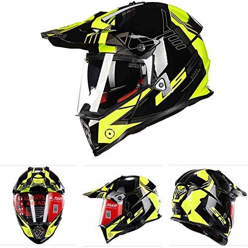 ZHXH Casco de moto/Casco integral todoterreno/dot/Scooter de cross-country para hombre Casco integral de cuatro ruedas con doble visera/gafas de sol L, Xl, Xxl