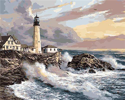 Olas ásperas y faro en la costa Pintura al óleo digital Diy Decoración de la sala Arte de la pared Lienzo Pintura al óleo Cartel