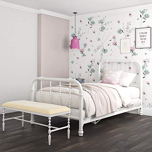 DHP Jenny Lind Metal Bed Frame in White with Elegant Scroll Headboard and Footboard, Twin Size