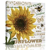 Advancey Canvas Wall Art 3D Framed Oil Painting Sunflower You are My Sunshine My Only Sunshine Bumblebee Butterfly on Wooden Board Canvas Picture Artwork for Bedroom Home Decoration 16x16 Inch