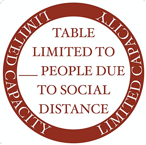 'Table Limited Capacity' Social Distancing COVID-19 (Coronavirus) Durable Laminated Vinyl Decal- 12' Sign by Graphical Warehouse- Safety and Security Signage (12x12', Venetian Red, 10)
