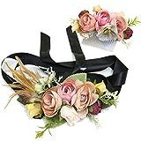 Ever Fairy moda flor cinturones de flores Conjunto de peine de pelo para mujer niña dama de honor vestido de satén cinturón boda fajas cinturón de la pluma tela elástica cinturón accesorios (C)