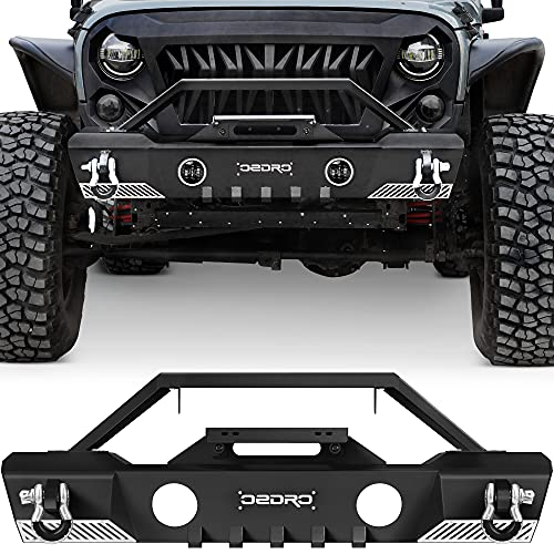 OEDRO Stubby Front Bumper Compatible with 2007-2018 Jeep Wrangler JK & JKU Unlimited, Off Road Bumper w/Fog Light Hole & D-Rings & Winch Plate